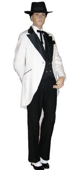 Costume rental includes: White cutaway jacket with black satin lapels, vest, pants, shirt, tie, hanky, hat, watch chain, shoes, spats