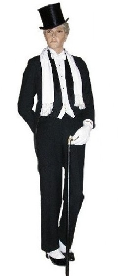Rental includes: Black tailscoat, white vest & bow tie, tuxedo shirt, pants, top hat, gloves, opera scarf, suspenders, shirt studs, cufflinks, shoes, spats